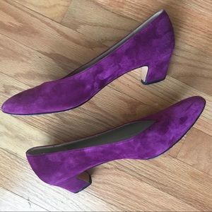 "Salvatore Ferragamo Purple Suede Pumps 9AA 2"" Heel"